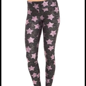 Terez pink and grey star leggings- Tall Band L